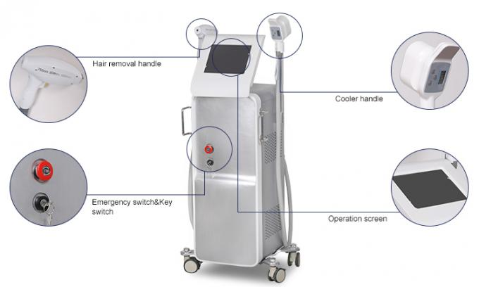 FDA Approved Lazer Hair Removal Machine / Permanent Hair Removal System With Cooler Handle